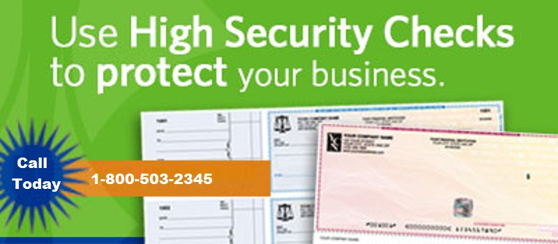 Use High Security Checks to protect your business. Call 1-800-503-2345